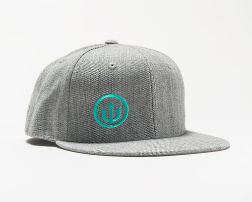 Flat Bill Hat - Grey with Teal Stitching