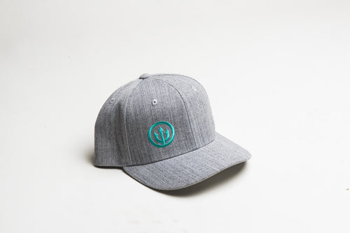 Curved Bill - Grey with Teal Stitching