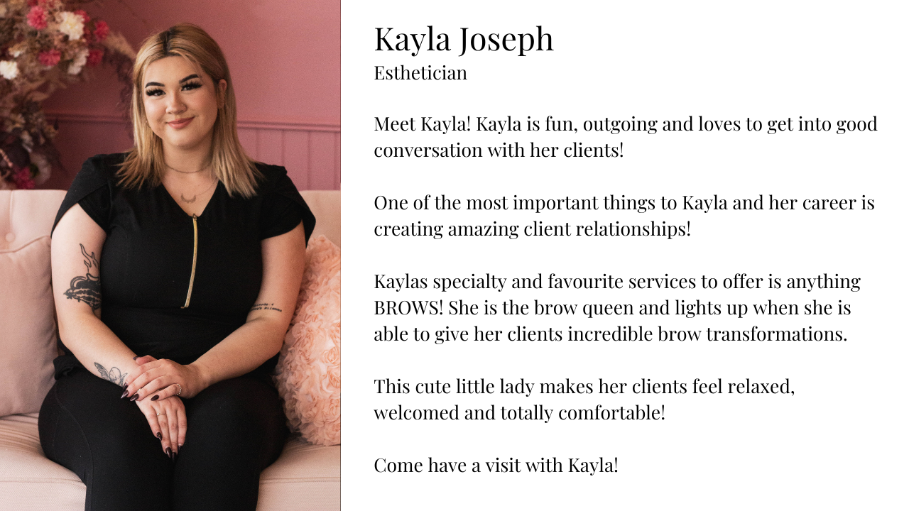 Kayla esthetician at allure spa, trained esthetician and service provider