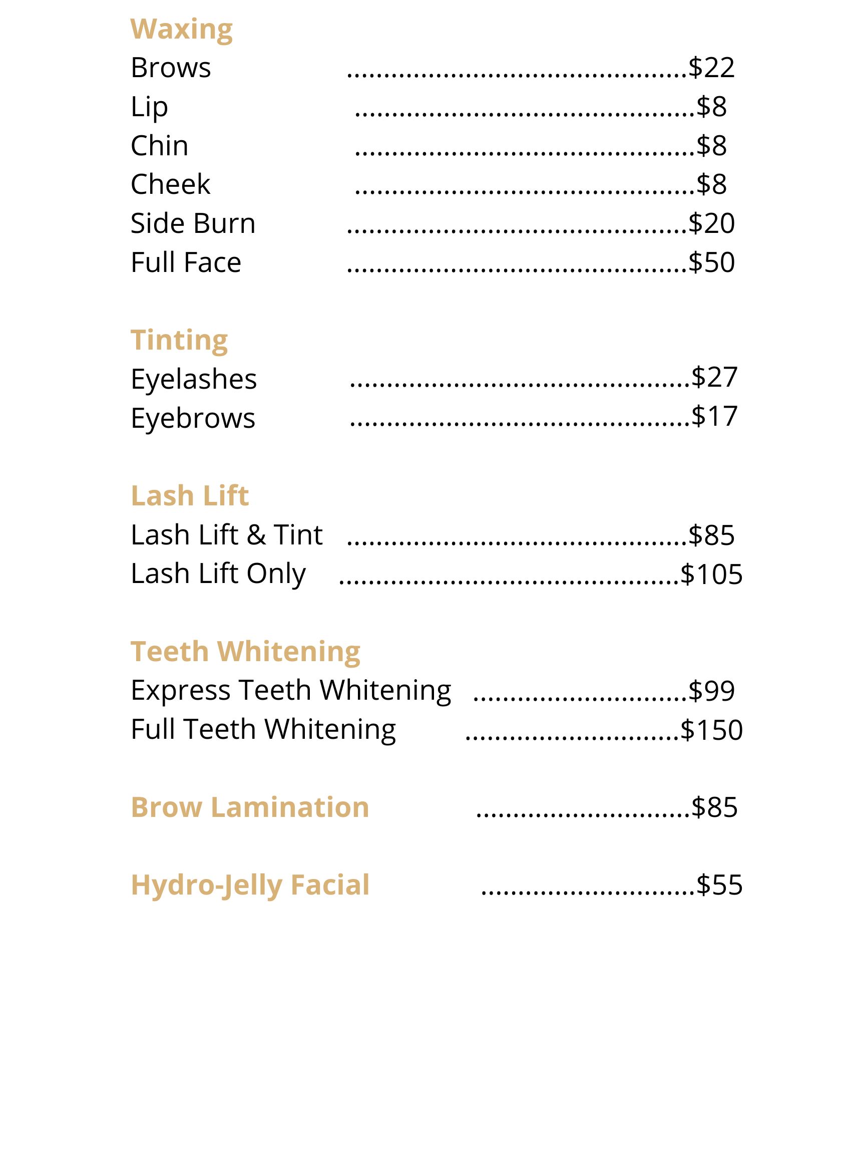 spa and beauty services. Brow lamination, brow waxing, tinting, lash tint, brow tint, teeth whitening, eyelash extensions, lashes, lash extensions, volume, hybrid, classic, relax
