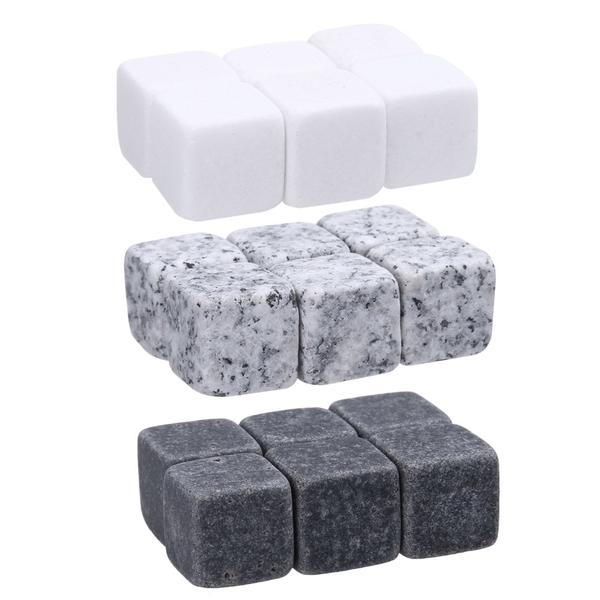 Whiskey Stones - Set of 6 (Black / Light Gray / White)