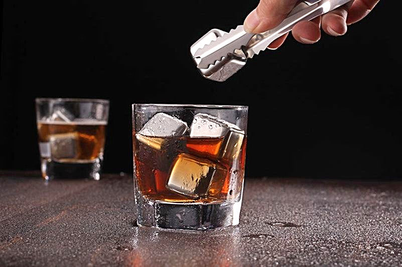 Stainless Steel Whiskey Stones (Set of 8) + Free Storage Tray & Tong