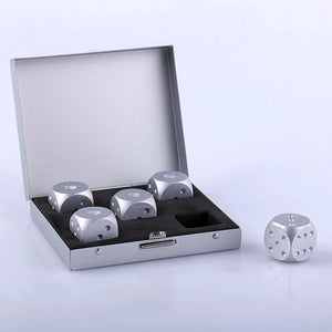 Dice-Shaped Whiskey Stones - Set of 5 (Gold / Silver)