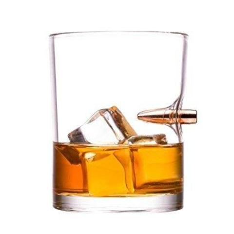 Handblown Bullet-Embedded Whiskey Glass