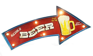 """Ice Cold Beer"" Vintage Arrow Style LED Light Bar Sign"