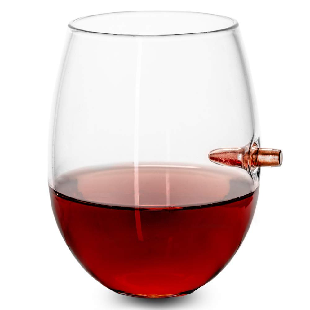 Handblown Bullet-Embedded Wine Glass