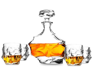 7-pc Premium Glassware Set: 1 Whiskey Decanter (750 ml) + 6 Rocks Glasses