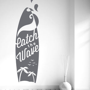 "Surf Board ""Catch The Wave"" Wall Decal (13 Colors Available)"