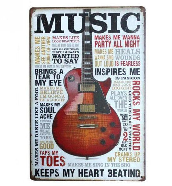 """Music Keeps My Heart Beating"" Vintage Tin Sign (8""x12"")"