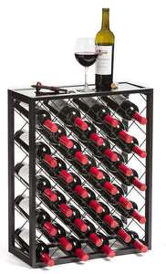 32-Bottle Metal Wine Rack Stand with Glass Tabletop