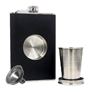Stainless Steel Unique Flask with Collapsible Shot Glass