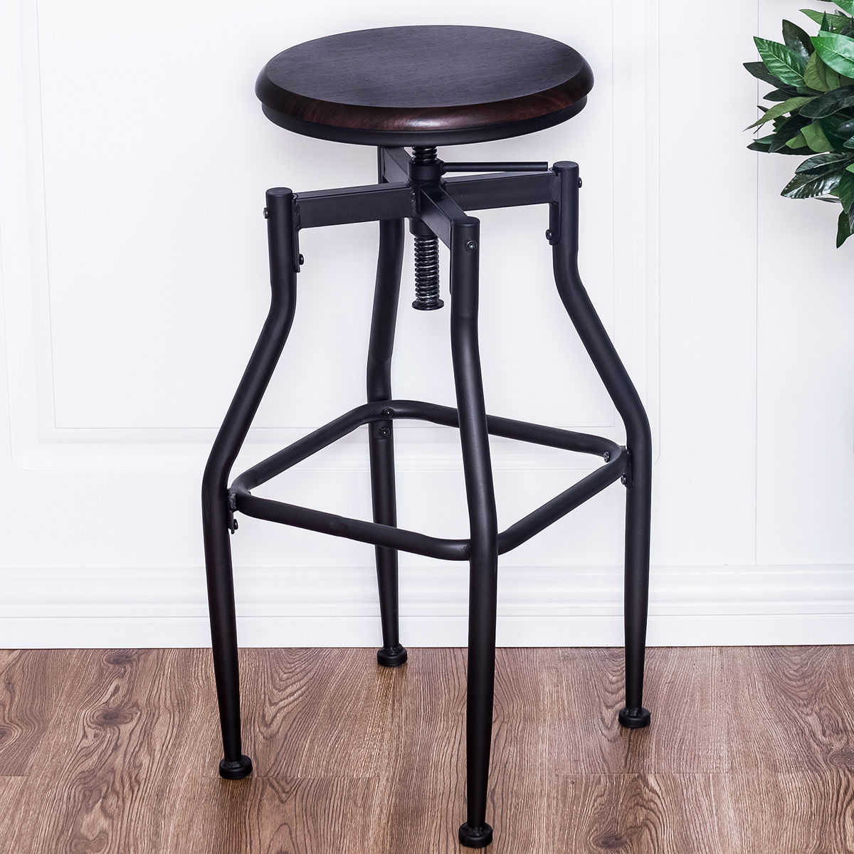 "29"" Industrial Style Wooden Swivel Bar Stools - Set of 2"