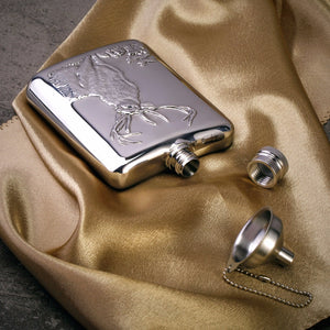 Deer-Design Engraved Flask (6 oz), 2-Shot Cups & Funnel (Gift Set)