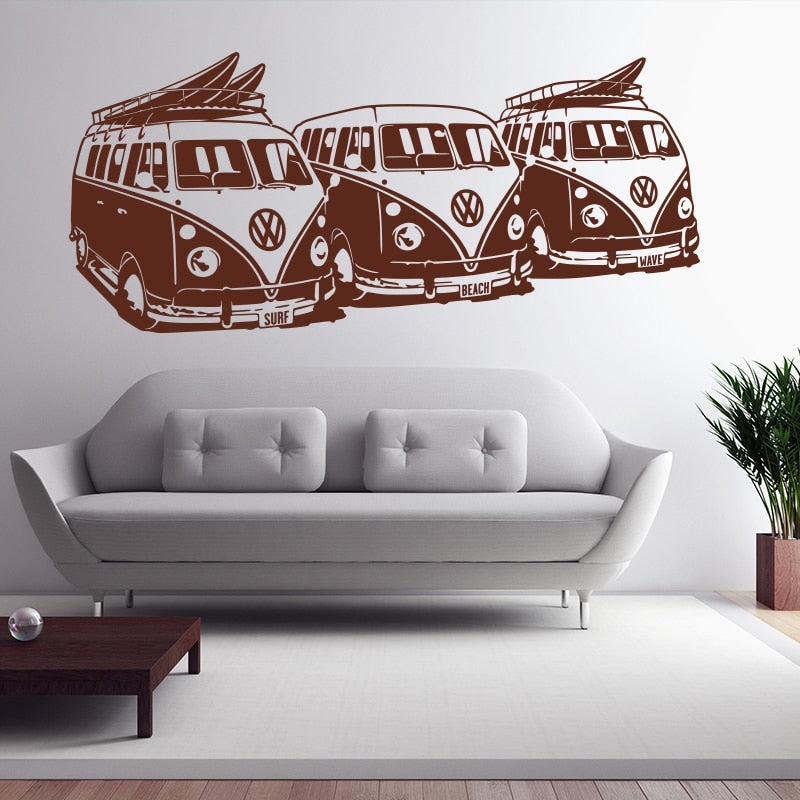 Volkswagen Kombi & Surf Boards Wall Decal (12 Colors Available)
