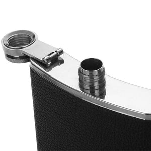 Stainless Steel Hip Flask with Black Leather Cover (9 oz)