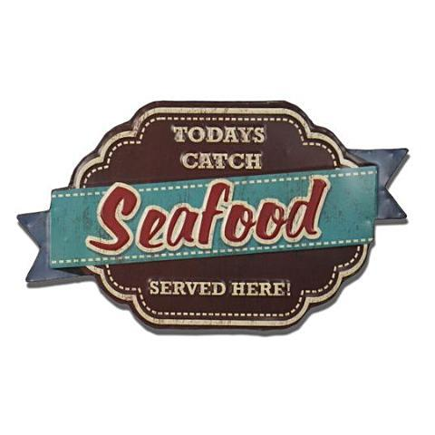 """Today's Catch: Seafood"" Vintage Tin Sign"