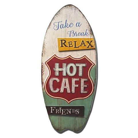 """Take a Break. Relax. Hot Cafe."" Vintage Tin Sign"