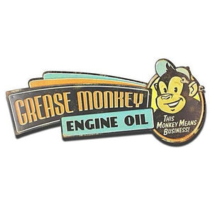 """Grease Monkey Engine Oil"" Vintage Tin Sign"