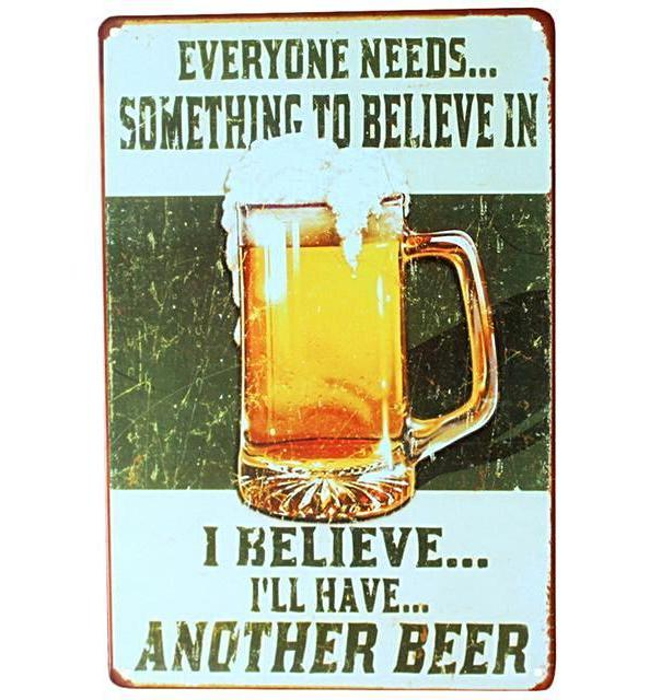 """I Believe I'll Have Another Beer"" Vintage Beer Sign (8""x12"")"