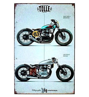 "Garage Motorcycles Vintage Tin Sign (8""x12"")"