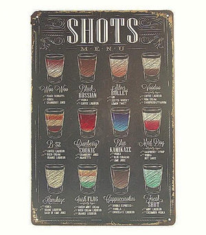 """Shots Menu"" Vintage Bar Sign (8""x12"")"