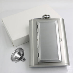 Stainless Steel Unique Flask (6 oz) with Cigarette Case + FREE Funnel