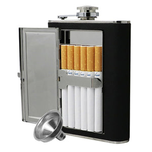 Stainless Steel Unique Flask with Cigarette Case