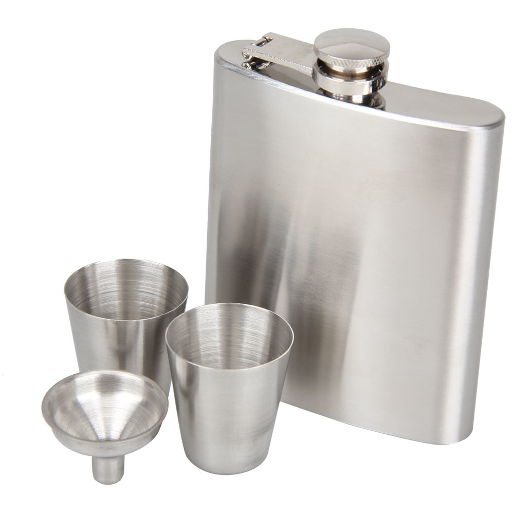 4-pc Set: 1 Stainless Steel Hip Flask (7 oz) + 2 Shot Cups + 1 Funnel