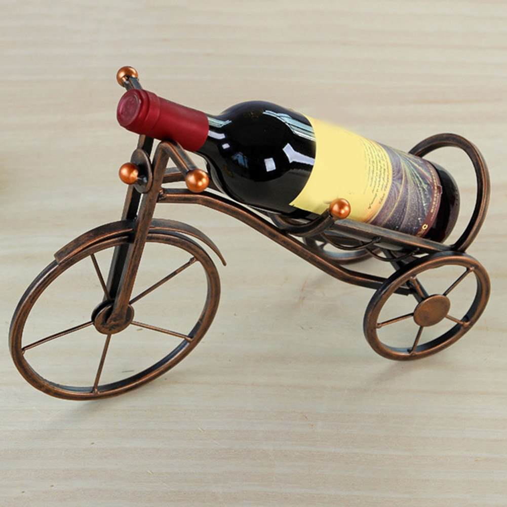 Handmade Tricycle Metal Art Wine Bottle Holders (Bronze / Rustic White)