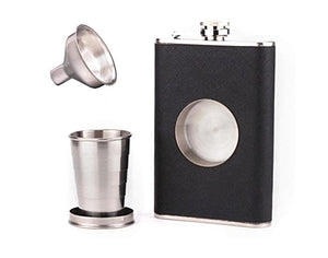 Stainless Steel Unique Flask (8 oz) with Collapsible Shot Glass + FREE Funnel
