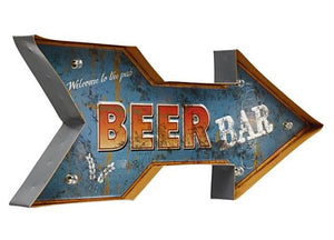 """Beer Bar"" Vintage Arrow Style LED Light Bar Sign"