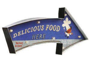 """Delicious Food Here"" Vintage Arrow Style LED Light Bar Sign"