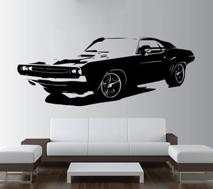 Vintage Dodge Challenger Wall Decal (Black/White)