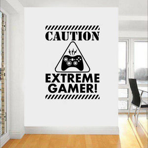 """Caution Extreme Gamer"" Wall Decal (10 Colors Available)"