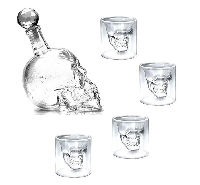 5-pc Set: Skull-Shaped Whiskey Decanter + 4 Whiskey Glasses