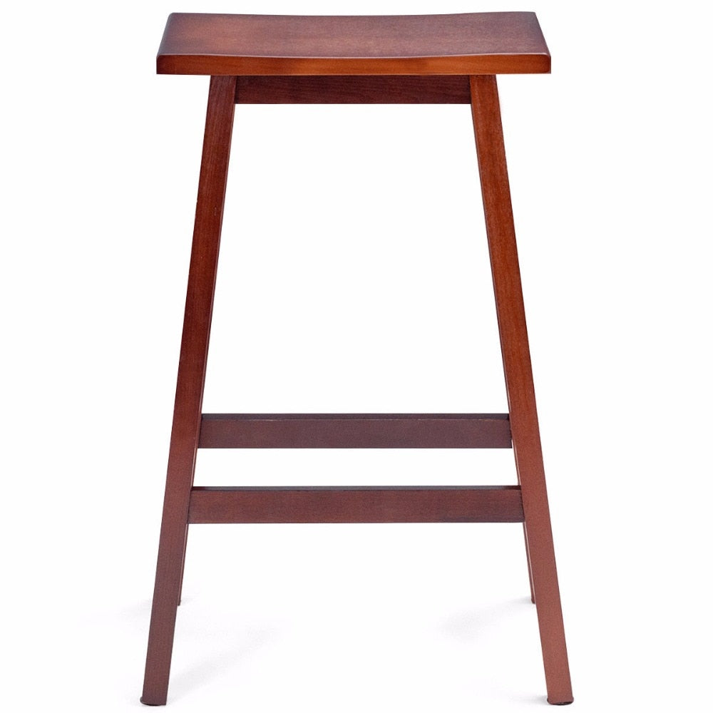 "29"" Wooden Saddle Bar Stools - Set of 2"