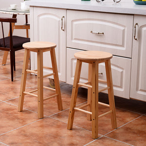 "24"" Wooden Bar Stools (Natural Finish) - Set of 2"