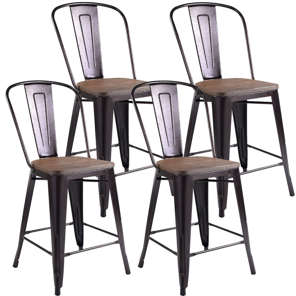 Tolix Style Vintage Wood & Metal Chairs - Set of 4