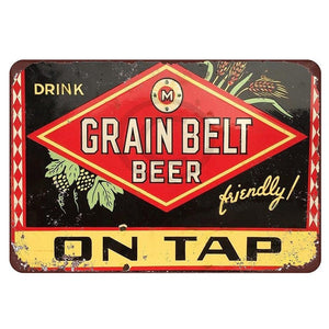 Vintage Home Decor Grain Belt on Tap Metal Tin Signs Retro Metal Sign Decor The Wall of Cafe Bar Home Man Cave Neon Sign