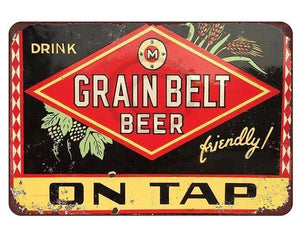 """Grain Belt Beer"" Vintage Tin Sign (8""x12"")"
