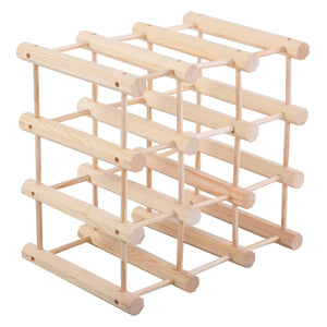 12-Bottle Wooden Wine Rack (Pine - Natural Wood Finish)