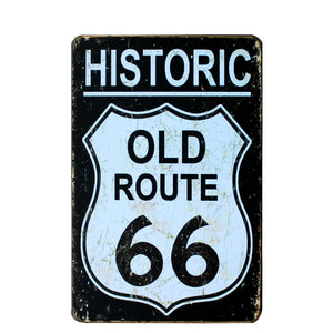 "Route 66 Vintage Tin Signs (8""x12"")"