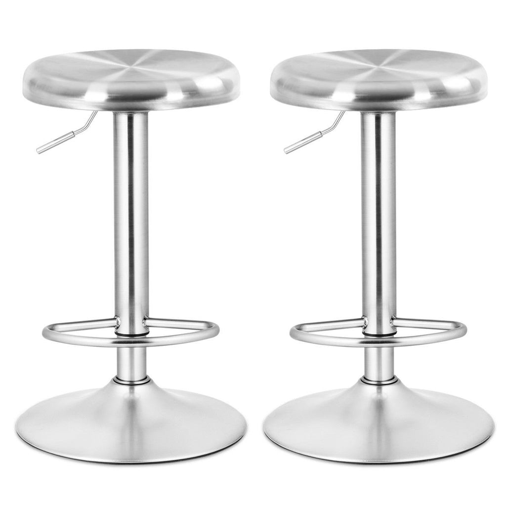 "33"" Brushed Stainless Steel Adjustable Bar Stools - Set of 2"