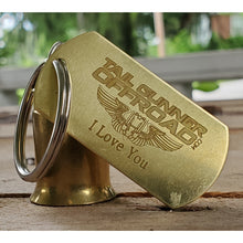"Load image into Gallery viewer, brass bell made of a .50 cal shell with brass tag that says ""I love you """
