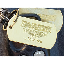 "Load image into Gallery viewer, ""I love you"" brass dog tag key chain"