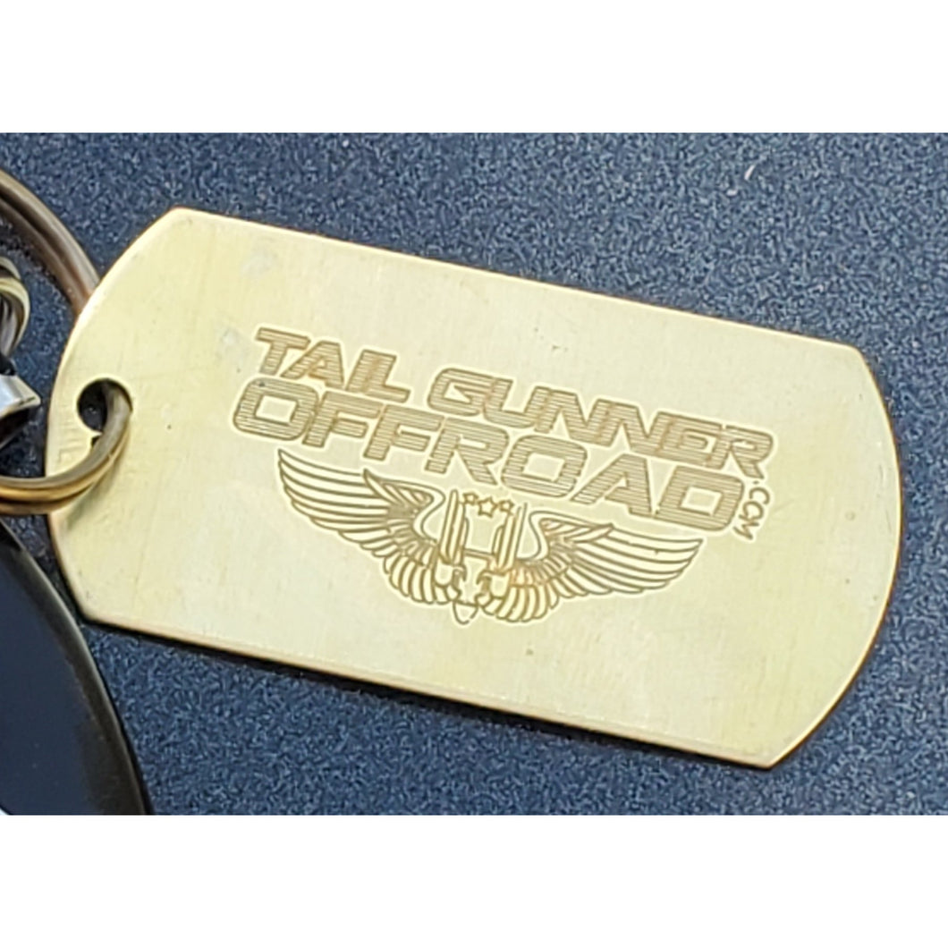 Tail Gunner Off-Road brass dog tag key chain