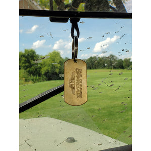 tag hanging on rear view mirror