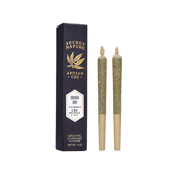 Dough Boy - CBD Hemp Flower Pre-Rolled Joints, Hybrid-Balance, 100% Trimmed Flower Buds, Ultra Premium, 2 Pack