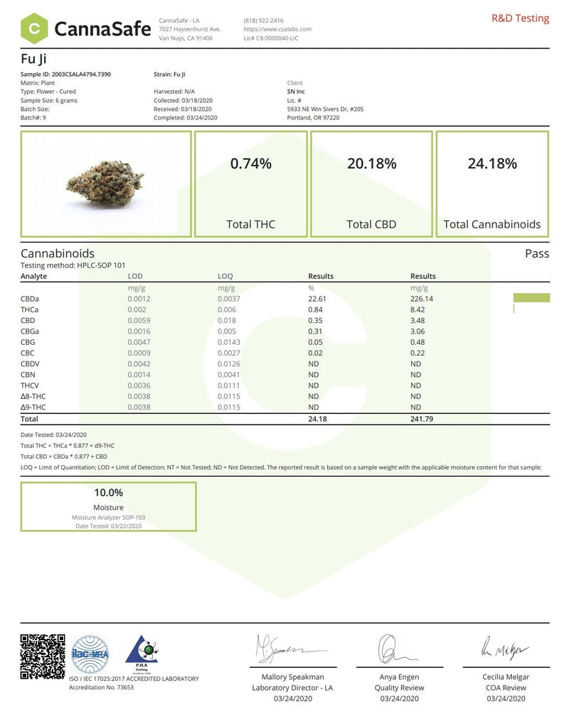 Fuji - 22.9% CBD, 24.1% Total Cannabinoids, Sativa-Uplift, Tropical, Sweet, Haze, Indoor Grown - Secret Nature