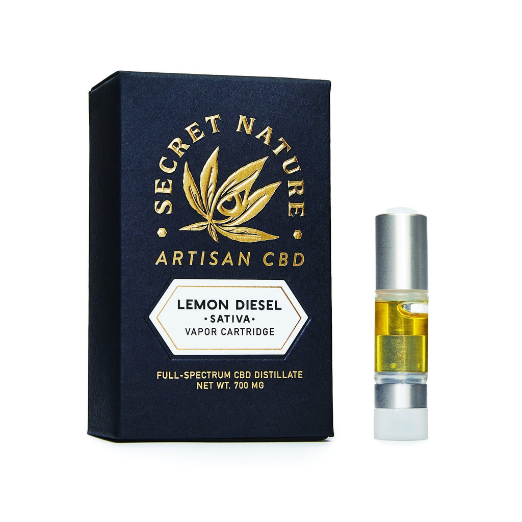 Lemon Diesel - CBD Vape Pen Cartridge, True Full Spectrum, Sweet, Lemons, Gas, Sativa, Uplifting - Secret Nature